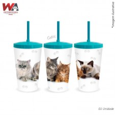 24627 - COPO PET 600ML GATOS